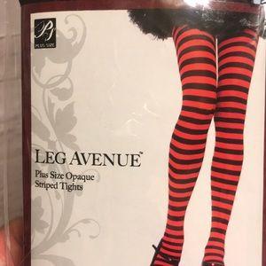 New Leg Avenue Plus Size Black/Red Striped Tights